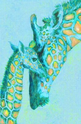 Digital Art - Peach And Aqua Giraffes by Jane Schnetlage