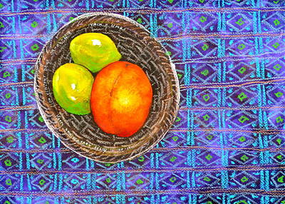 Peach And Limes Still Life Art Print by Ion vincent DAnu