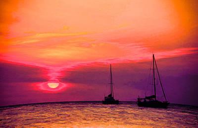 School Teaching - Peach and Purple Sunset on Caye Caulker by Lee Vanderwalker