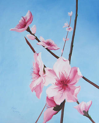 Painting - Peach Blossoms by Mary Rogers