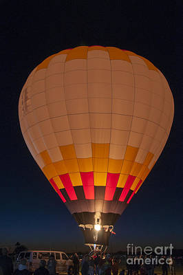 Photograph - Peach Hot Air Balloon Night Glow by Kirt Tisdale