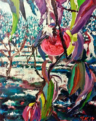 Painting - Peach Orchard by Ray Khalife