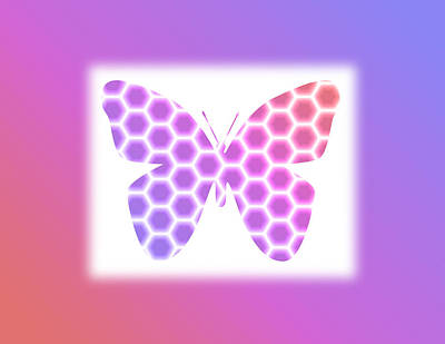 Digital Art - Peach Pink Purple Butterfly In Hexagonal Pattern by Shelley Neff