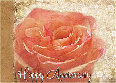 Photograph - Peach Rose Anniversary Card by Debbie Portwood