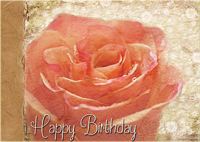 Photograph - Peach Rose Birthday Card by Debbie Portwood