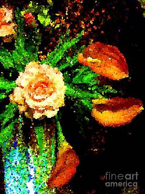 Photograph - Peach Roses And Callas by Saundra Myles