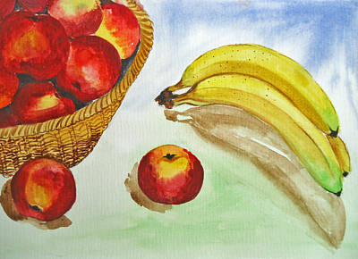 Peaches And Bananas Art Print by Shakhenabat Kasana