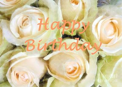 Photograph - Peaches And Cream Roses Card by Barbie Corbett-Newmin