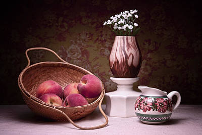 Raw Photograph - Peaches And Cream Sill Life by Tom Mc Nemar