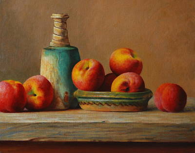 Peaches And Green Ceramic Art Print by Dan Petrov