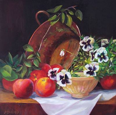Painting - Peaches And Pansies  by Donna Munsch