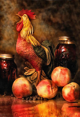 Photograph - Peaches And Rooster by Mary Almond
