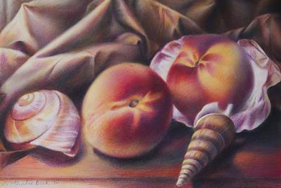 Peaches And Seashells Original by Nathalie Beck