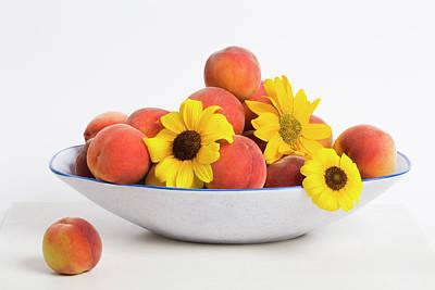 Peaches And Sunflowers Art Print by Diane Macdonald