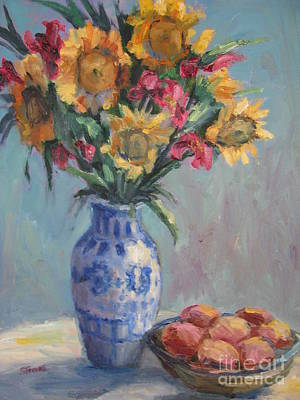 Painting - Peaches And Sunflowers by Sharon Franke