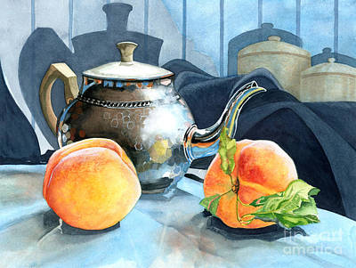 Silver Tea Pot Painting - Peaches And Tea by Barbara Jewell