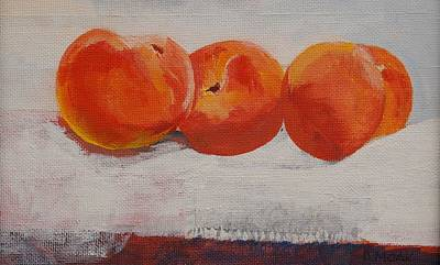Table Cloth Painting - Peaches For Peaches by Barbara Moak