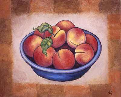 Fruit Bowl Painting - Peaches by Linda Mears