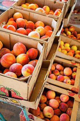 Peaches On Display In Farmer's Market Art Print