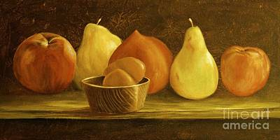 Painting - Peaches Pears And Eggs by AnnaJo Vahle