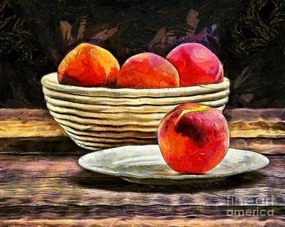 Impressionist Photograph - Peaches Still Life by Edward Fielding