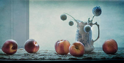 Peaches Still Life Art Print by Maggie Terlecki