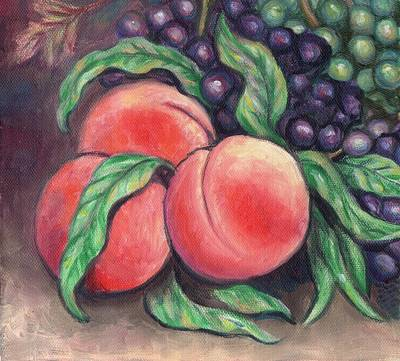Grape Painting - Peaches Two by Linda Mears