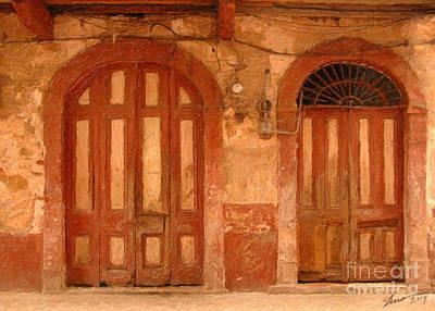 Folklorico Digital Art - Peachy Doors by Eduardo Mora