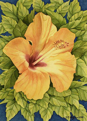 Painting - Peachy Hibiscus by DK Nagano