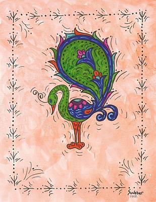 Peachy Peacock Art Print