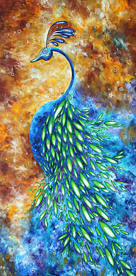 Jewel Tone Painting - Peacock Abstract Bird Original Painting In Bloom By Madart by Megan Duncanson