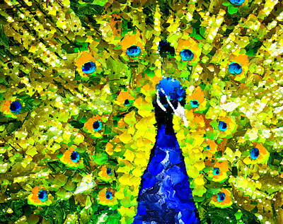 Colorful Mixed Media - Peacock Abstract Realism by Georgiana Romanovna