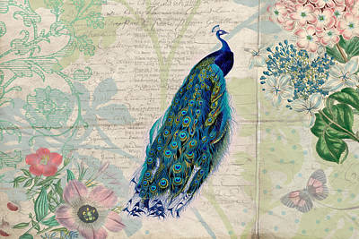 Peacock Digital Art - Peacock And Botanical Art by Peggy Collins