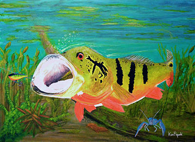 Greater Flamingos Painting - Peacock Bass Painting by Ken Figurski