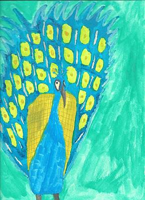 Drucker Painting - Peacock by Artists With Autism Inc