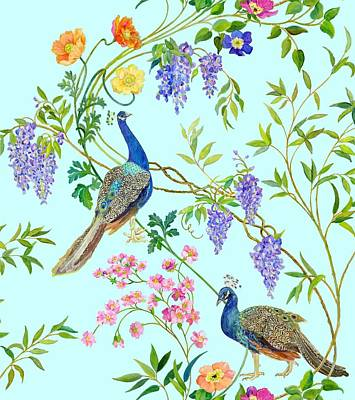 Cherry Tree Painting - Peacock Chinoiserie Surface Fabric Design by Kimberly McSparran