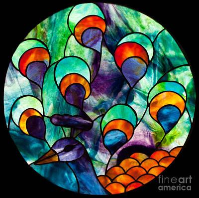 Youghiogheney Glass Glass Art - Peacock by David Kennedy