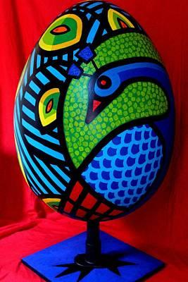 Peacock Poster Painting - Peacock Egg II  by John  Nolan