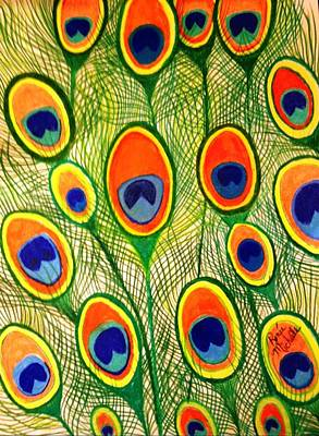 Drawing - Peacock Feather Frenzy by Renee Michelle Wenker