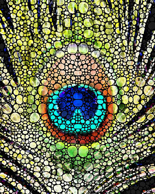 Peacock Feather - Stone Rock'd Art By Sharon Cummings Art Print by Sharon Cummings