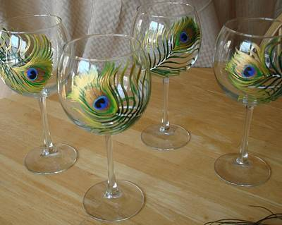 Painting - Peacock Feathers On Wineglasses by Sarah Grangier