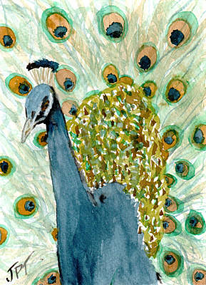 Painting - Peacock Finery by Jini Patel Thompson - JPT