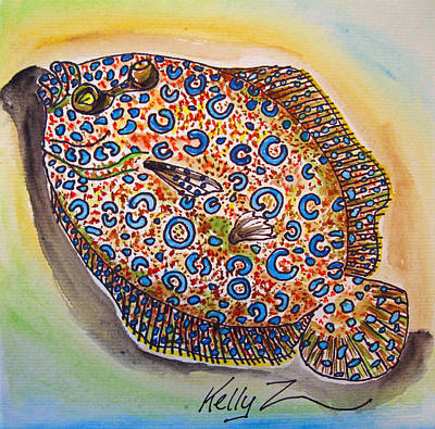 Flounder Painting - Peacock Flounder by Kelly     ZumBerge