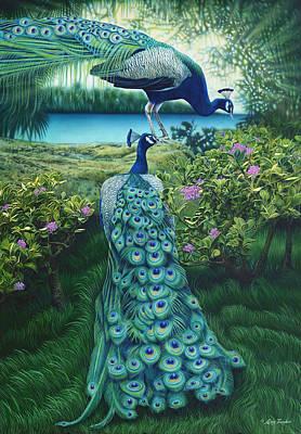 Peacock Garden Art Print by Larry Taugher