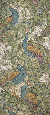 Arts And Crafts Movement Photograph - Peacock Garden Wallpaper, 1889 by Walter Crane