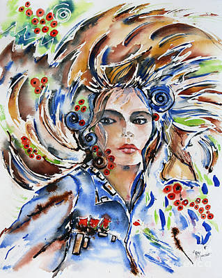 Painting - Peacock Girl by Mona Mansour Jandali