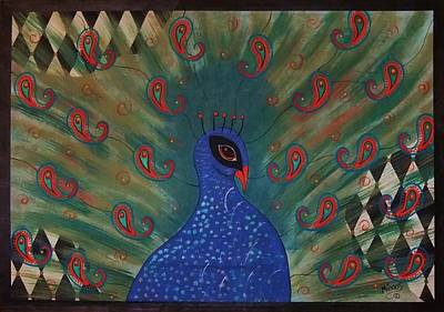 Painting - Peacock Harlequin Abstract by Cindy Micklos