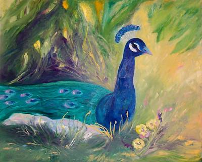 Peacock In The Grass Original by Jan Moore