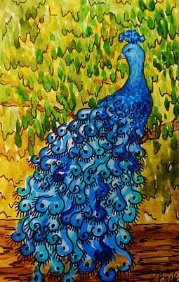 Bright Watercolor Portrait Bright Watercolor Painting - Peacock by Katherine Young-Beck
