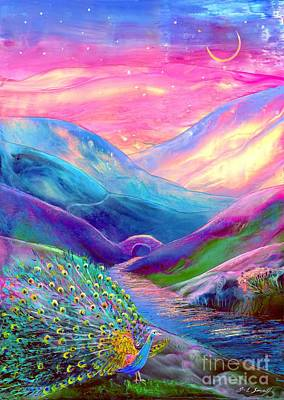 Mountain Stream Wall Art - Painting - Peacock Magic by Jane Small